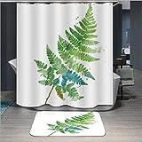 xialeine Duschvorhang Nordischen Stil Pflanze Polyester Druck Wasserdicht Mehltau Duschvorhang Hochwertige Bunte Vorhänge für Badezimmer Shower-180 * 220 cm