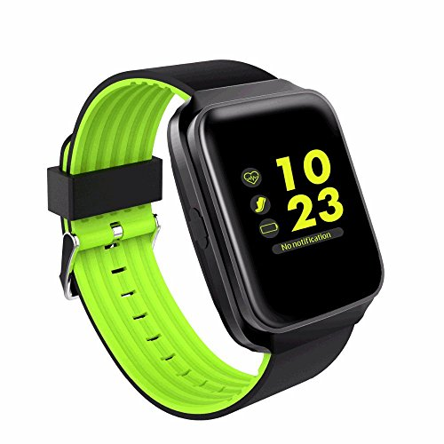 Asdf Smart Watch Heart Rate Blood Pressure Monitor Message Reminder Adult Bluetooth 4.0 Voice Phone Bracelet Tracker Sync Call SMS (Color : Green)
