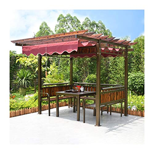 HLZY Garden Furniture Gazebo Garden Gazebo, Patio Pavilion, Grape Rack with Table and Chairs, Outdoor Courtyard Pavilion Wooden Garden Awning for Garden, Patio, Lawns, Parties Outdoor Canopy
