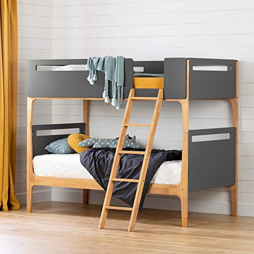 South Shore Bebble Bunk Bed, Twin, Charcoal Gray and Exotic Wood