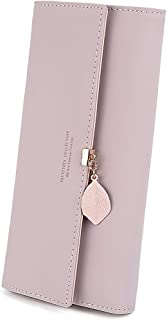 PALAY® Women's PU Leather Long Wallet with Leaf Pendant Card Holders Phone Pocket Girls Zipper Coin Purse (Pink)