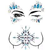 2 Packs Rhinestone Face Breast Body Jewels Festival Rave,Mermaid Face Gems Glitter, Self-adhesive Eyes Eyebrow Bindi Tears Breast Chest Body Rainbow Crystal Acrylic Diamond Temporary Tattoo Stickers