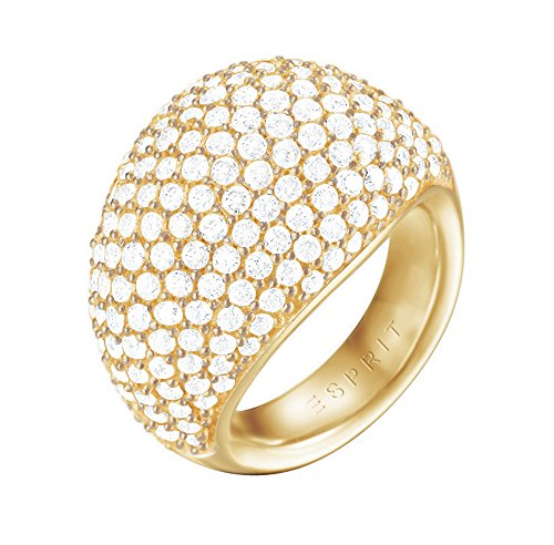Esprit Damen-Ring Medea Messing rhodiniert Zirkonia weiß Rundschliff Gr. 57 (18.1) - ESRG02034B180