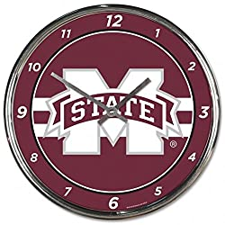 NCAA Mississippi State Bulldogs WinCraft Official Chrome Clock