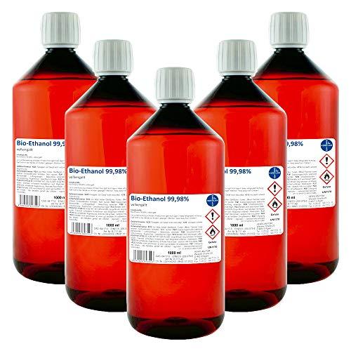 Kamin-Ethanol, 99,98% Alkohol-Gehalt I 5 x 1000 ml I Bioethanol I HERRLAN-Qualität I Made in Germany