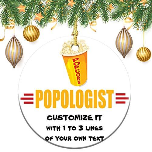 Christmas Ornaments, Personalized funny popcorn Christmas Memory Tree Round Ornament, Ceramic Keepsake Decoration Ornament
