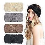 DRESHOW 4 Stück Damen Schleife Design Stirnband Winter Kopfband Haarband