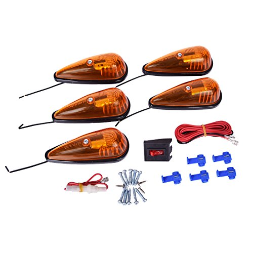 CZC AUTO 5 Pack 5-1/2 inch Amber Teardrop Cab Clearance Marker Roof Running ID Light Kit with on/off Switch, Front Rear Top-Mounted for Trailer Truck RV Pickup Semi Van Boat Camper Bus Sedan