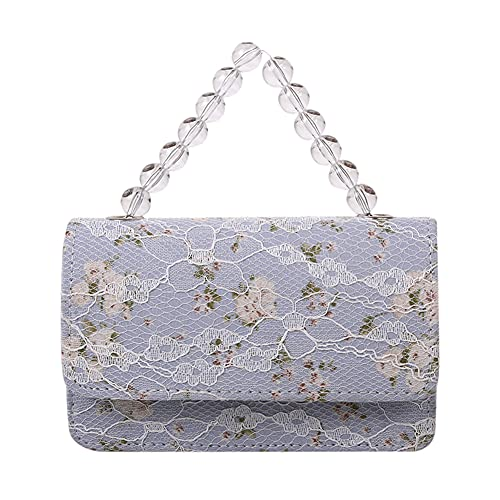 Bolso de satén para mujer, bolso de encaje con perlas acrílicas, bolso de cadena para cenas, bodas, bolso de mano para mujer con encaje de satén de flores