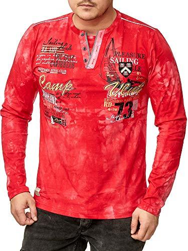 Violento Herren verwaschen Longshirt | Camp Vlnt Design 855 (M, Rot 855)