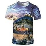 HYTR 3D Camisetas 3D Hombre Moda Ocean Fish Big Shark Print Set Camiseta Y Cuello Redondo L