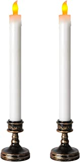 Autbye Battery Window Candles Classical Design Holder LED Taper Candle for Party Church Christmas Wedding Birthday Dinner Flameless Candles Festival Decorations (2 Pack)