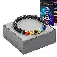 Aura Design 7 Chakra Perlenarmband für Damen und Herren - edle Naturperlen - Yoga Armband - Meditation - Buddha Armband - Stein Armband - Schwarz Lava - [19,5 cm Umfang] & [8 mm Perlen] …