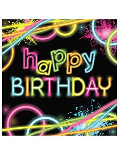 COOLMP Lot de 3 - 16 Serviettes Happy Birthday - Glow Party - Taille Unique - Décoration et Accessoires de fête, Animation Festive, Anniversaire, Mariage, événement, Jouet, Cotillon