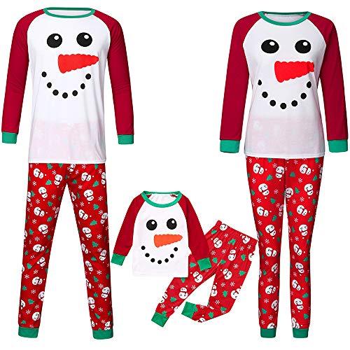 GDCB Conjuntos de Pijamas Familiares a Juego Pijamas de muñeco de Nieve de Vacaciones navideñas Ropa de Dormir...