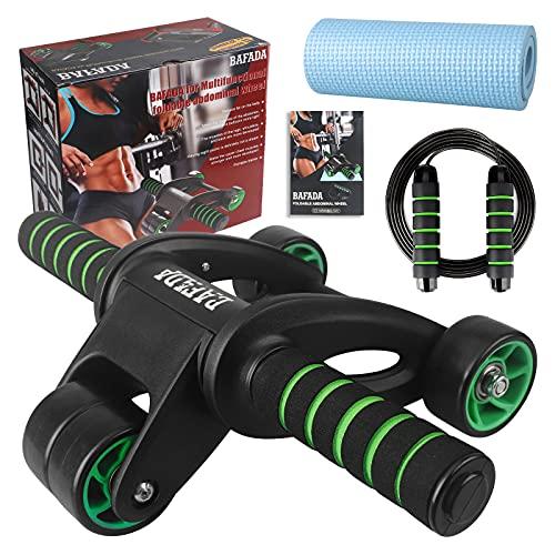 Bafada Rullo Convertibile per Addominali, Fitness Workout Set - AB Wheel Roller Addominali + Corda per Saltare + Tappetino, per Uomo Donna Fitness in Palestra o a Casa,Trainer Addominali AB Wheel