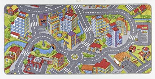 HANSE Home Kurzflor Kinderteppich Spielteppich Smart City (90x200 cm, 100{272eb33709d9e2fed37186a3392cdee143d094e3807632f1da3f1041341c42dd} Polyamid, Rutschhemmende Rückenbeschichtung, Pflegeleicht, Fußbodenheizung geeignet), Grau