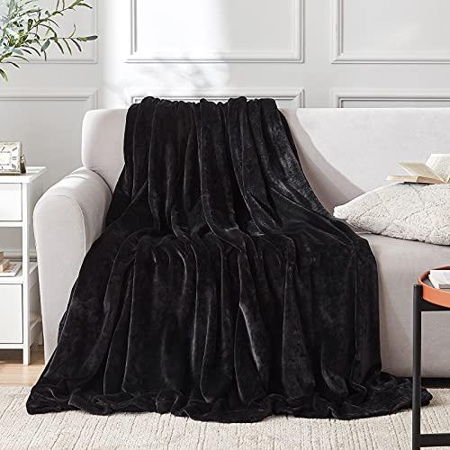 EHEYCIGA Manta Sofa Mantas para Sofa Negro Microfibra Suave Acogedora Manta de Lujo para La Cama 130x165 cm