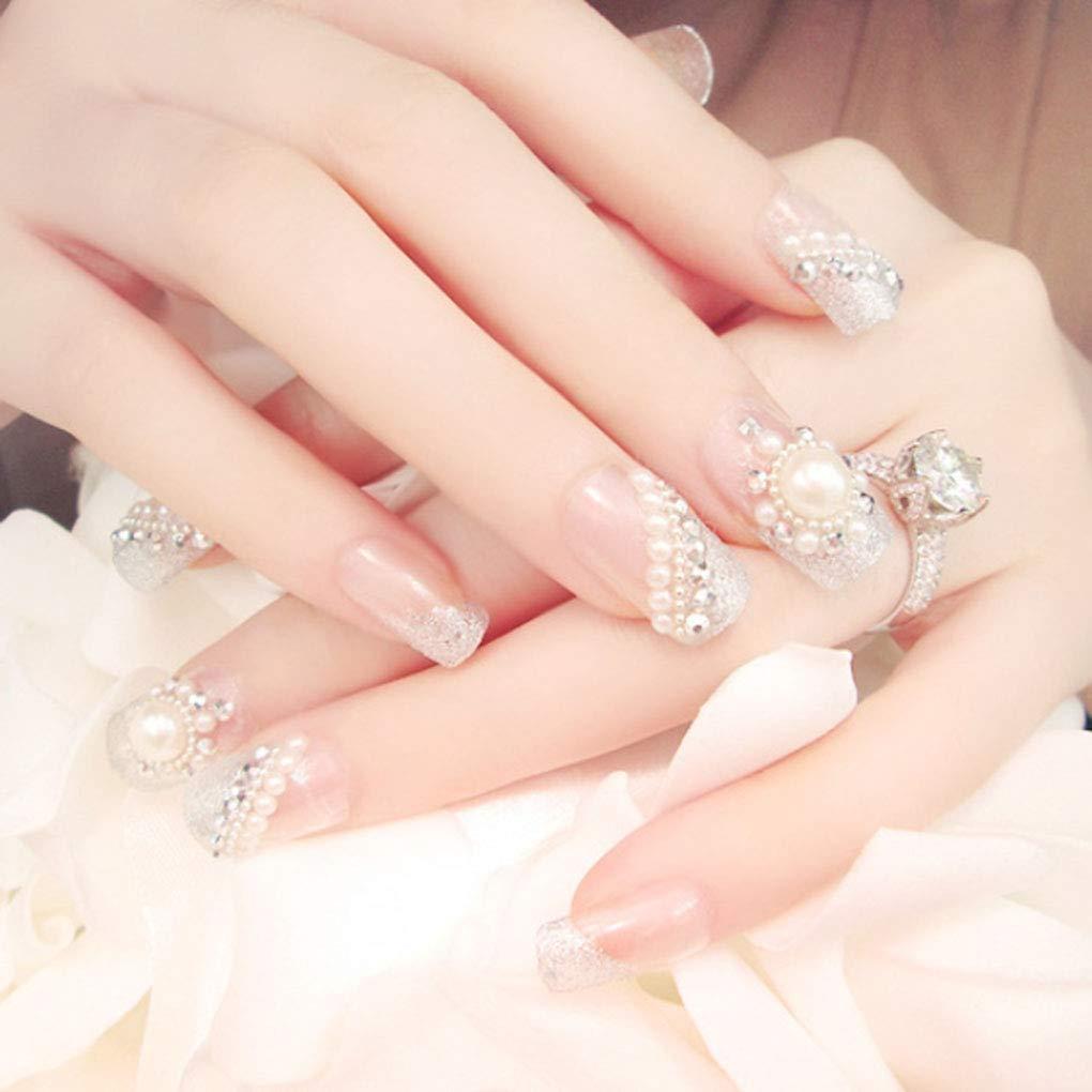 Tgirls Indefinitely 24Pcs Glossy False Nails Now on sale Full Cover Crystal Medium Pearl