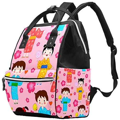 Japan Kids Sakura Nappy Changing Bag Diaper Sac à dos avec poches isolées, sangles de poussette, grande capacité multifonctionnel élégant sac à couches pour maman papa en plein air
