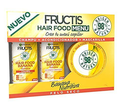 Garnier Fructis Cofre Hair Food Banana Nutritiva para Pelo Seco - Crea tu menú capilar compuesto por champú, acondicionador y mascarilla