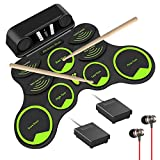 10 Pads Electronic Drum Set for Kids (G9 Pro), Roll Up Practice Midi Electric Drum Kit with Headphone Speaker, Foot Pedals and Drumsticks, Birthday Gift for Children Student Beginners