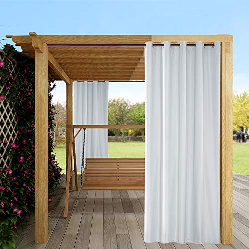 Eleoption Cortina exterior impermeable con ojal para porche delantero, pérgola, cabaña, patio cubierto, Gazebo, muelle y casa de playa (4 piezas 137 x 213 cm), color blanco