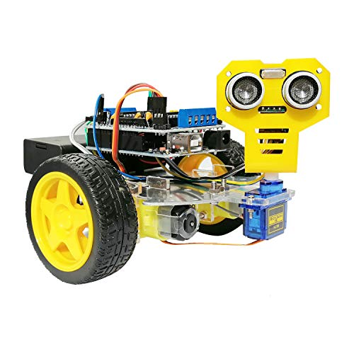 Super44day Robot Auto Car Kit para Arduino Starters y Kids Uno R3 Project con Sensor ultrasónico, Control Remoto IR, 2WD Arduino Car Kit