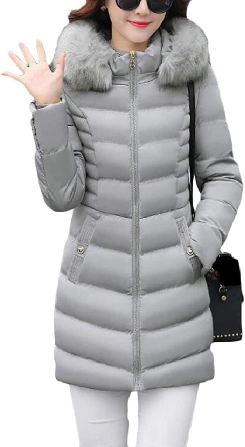 PujinggeCA Womens Winer Casual Slim Fit Hooded Quilted Jacket Padded Coat