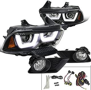 Spec-D Tuning LF2LHP-CHG11JCOEM-HZ Fog Headlight (Charger Black Halo Projector Clear Bumper Lamp)