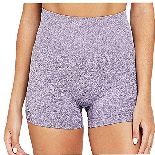 Yoga Yoga Pantalones Cortos para Mujer Leggings Cortos De Cintura Alta Sin Fisuras De Control De La Panza Correr Pantalones De Mallas Púrpura S