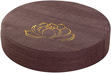 VORCOOL Round Floor Pillow Cushion Linen Seat Cushion Tatami Mat for Balcony Window (Brown Lotus)