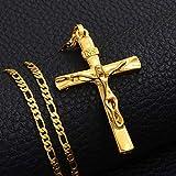Anniyo INRI Cross Pendant Necklaces Chain Women Men,Christianity Gold Color Jesus of Nazareth,King of The Jews #227806