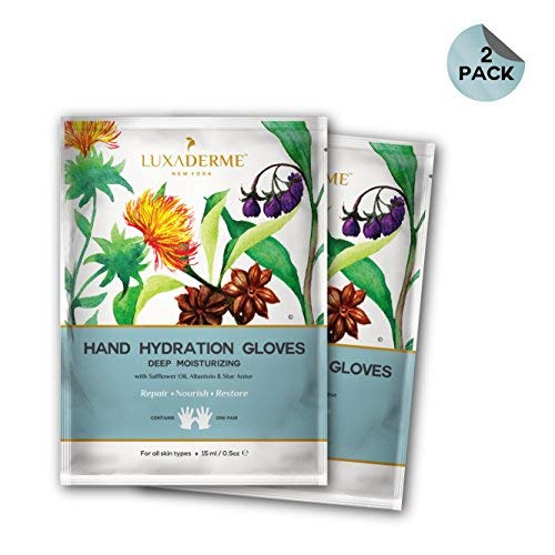 Pack of 2 Moisturizing Hand Hydration Gloves with Safflower Oil, Allantoin and Star Anise by LuxaDerme New Jersey