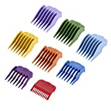 """8 Pcs Colorful Guide Combs Hair Guards for Most Hair Clippers/Trimmers–8 Cutting Lengths from 1/8""""to 1""""(3-25mm)–Great for Professional Stylists and Barbers"""