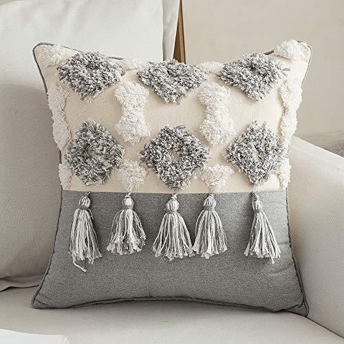 MIULEE 1 Stück Dekorative Kissenbezug Baumwolle Dekokissen Boho Super Weich Kissenbezüge Quaste Decor Kissenhülle für Sofa Couch Schlafzimmer Wohnzimmer 18X18inch 60x60cm