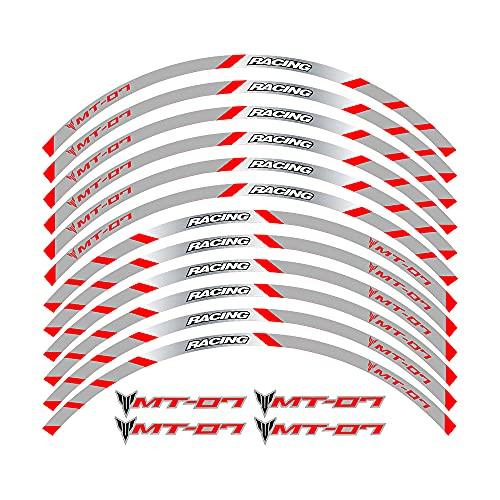 Elegantes Adhesivos Impermeables para Llantas, adecuados para Llantas con un diámetro de 17 Pulgadas, Hermoso Papel para decoración de Llantas For Yamaha MT 07 All Years (2B-Rojo)