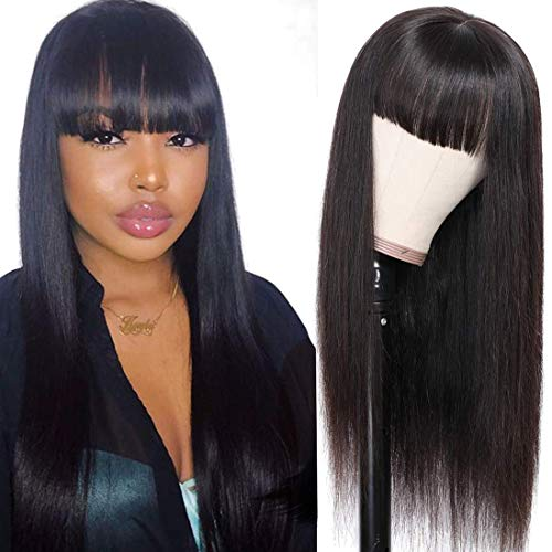 Resaca Straight Human Hair Wigs with Bangs Brazilian Virgin None Lace Front Human Hair Wigs with Elastic Bands Glueless Remy Human Hair Natural Black Color Wig for Women (20'', PU Wig)