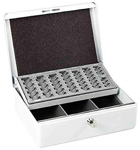 Esselte Caja de caudales con bandeja para monedas, 2 llaves, 25 x 30,5 cm, Metal, Blanco, 11637