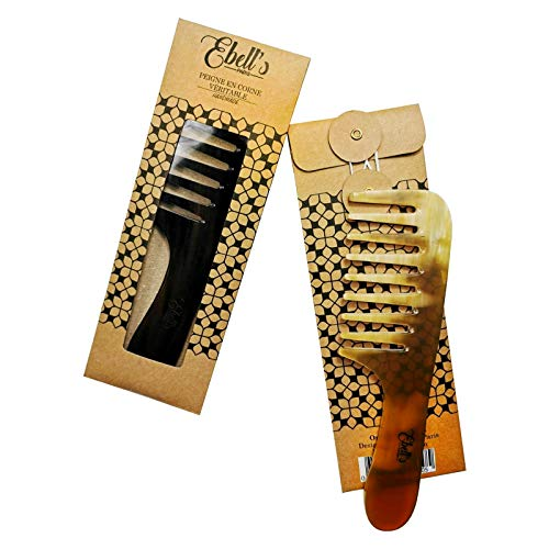 Peigne à cheveux en Corne de buffle- Peigne à larges dents naturel en corne Véritable Avec Manche handmade
