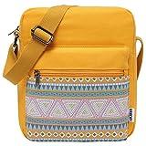 VASCHY Umhängetasche Mädchen, Vintage Klein Wasserabweisend Canvas Schultertasche Crossbody Bag Damen Teenager Tasche mit Verstellbaren Schulterriemen(Gelb)