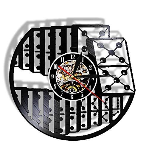 Wangzhongjie Reloj De Pared De Juego De Dominó con Retroiluminación Led, Juego De Ajedrez De Entretenimiento, Damas, Reloj De Vinilo 3D, Decoración Interior De Sala De Estar