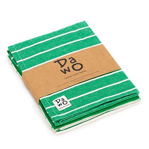 DaWo - Set di 3 strofinacci/asciugamani da cucina in cotone riciclato con gancio   Oeko-Tex Standard   Colori assortiti   50x 70cm   Extra resistente con 200g/m2 verde oliva