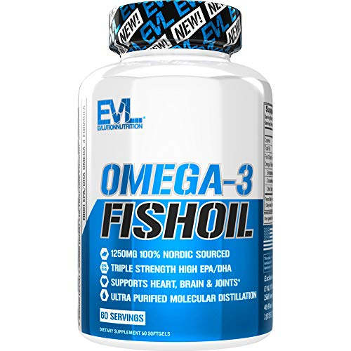 Evlution Nutrition Omega 3 Fish Oil 1250mg, HIGH EPA 450mg, DHA 300mg Triple Strength, Capsules (60 Servings)