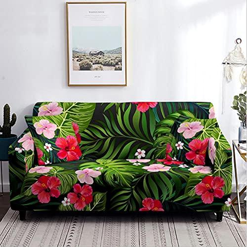 Funda de sofá de 4 Plazas Flores Rosadas Funda Elástica para Sofá Poliéster Suave Fundas de Sillón Sofá Funda Antideslizante Sofá Funda Muebles Protector Sofá Funda
