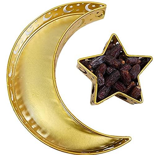 PiniceCore Bandeja del Alimento del Festival De Ramadán Eid 2pcs Hierro Bandeja Eid Mubarak Estrella De La De La Porción Titular Vajilla para La Cena Postre Pastelería Display Decoración del Partido