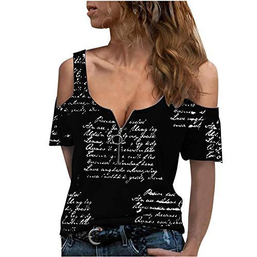Damen Tops Fashion Letter Printed T-Shirt Sommer ohne Schulter Kurzarm Pullover Reißverschluss O-Ausschnitt Low-Cut Slim Tunika Bluse(L,Trägerlos-Schwarz)
