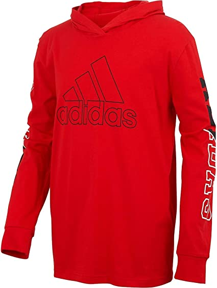adidas Boys' Big Long Sleeve Hooded Logo T-Shirt