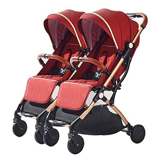 YGB Triciclo Ligero PresentKids Trike, Cochecito Doble de Lado a Lado Desmontable Double Dolls Buggy Cochecito de bebé Plegable portátil Ultraligero para niños pequeños de 0 a 3 años, I