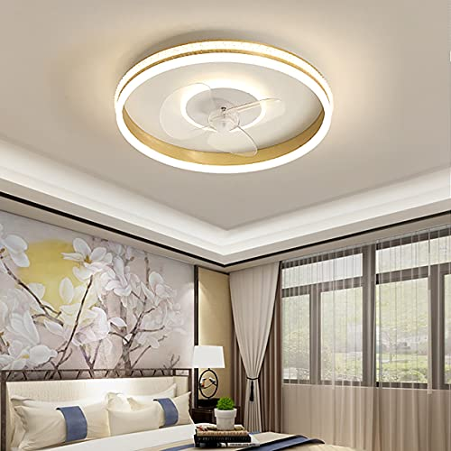 Ventilador Techo Led Y Mando a Distancia Lampara Ventilador Ultra Silencioso Lámpara Habitación Plafón Led Regulable Iluminación Interior 3 Velocidades Lámparas Colgantes,Oro
